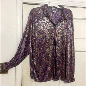 Polyester Glimmer trend psychedelic print shirt.